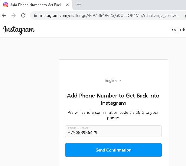 add phone number to get back into Instagram loop